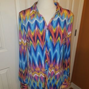 BCBG womens multi color blouse L